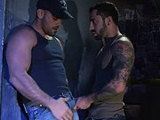 Homo viril et poilu baisé par un beau tatoué